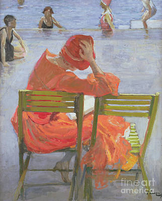 Girl In A Red Dress Reading By A Swimming Pool Poster by Sir John Lavery