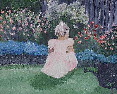 Poster featuring the painting Girl In Garden by Angela Stout