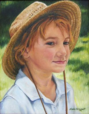 Girl In Straw Hat Poster by Lori Brackett