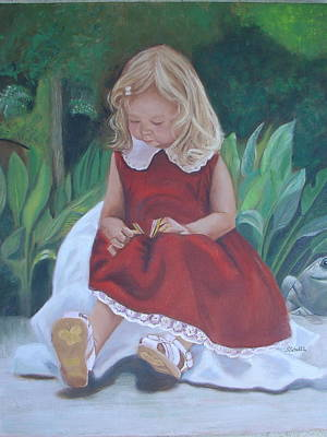 Poster featuring the painting Girl In The Garden by Sharon Schultz