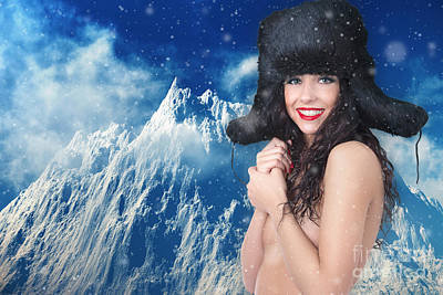 Girl In Winter Fur Cap Poster by Aleksey Tugolukov