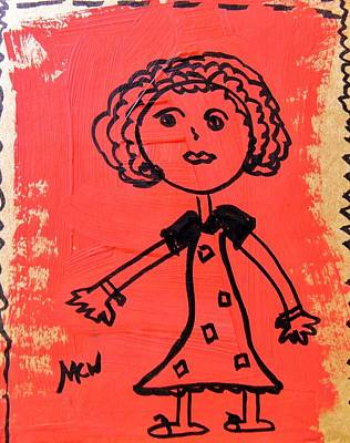 Poster featuring the painting Girl On Red by Mary Carol Williams