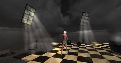 Poster featuring the digital art Girl On The Floor by Susanne Baumann