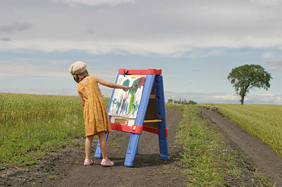 Girl Painting In Field Poster by Mirek Weischel