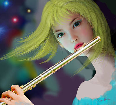 Girl Playing Flute 2 Poster