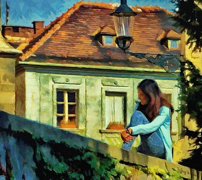 Poster featuring the painting Girl Posing On Stone Wall by Jeff Kolker