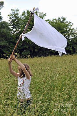 Girl Raising The White Flag In Wheat Field Poster by Sami Sarkis