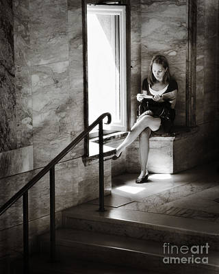 Girl Reading By The Window Poster