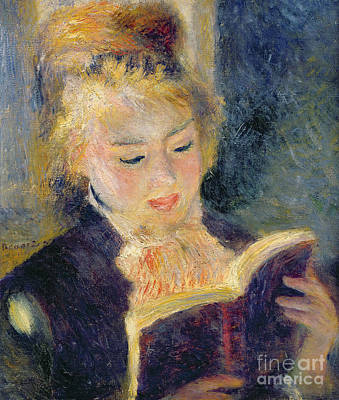 Girl Reading Poster by Pierre Auguste Renoir