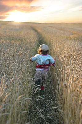 Girl Running Through Wheat Field Poster by Mirek Weischel