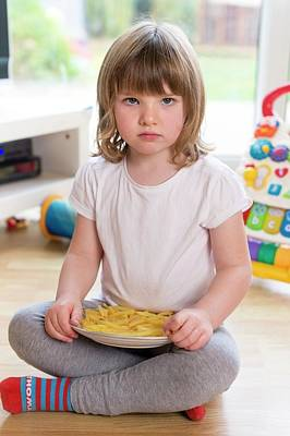 Girl Sitting On Floor With French Fries Poster