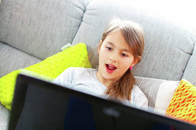 Girl Using Laptop With Surprised Face Poster by Wladimir Bulgar