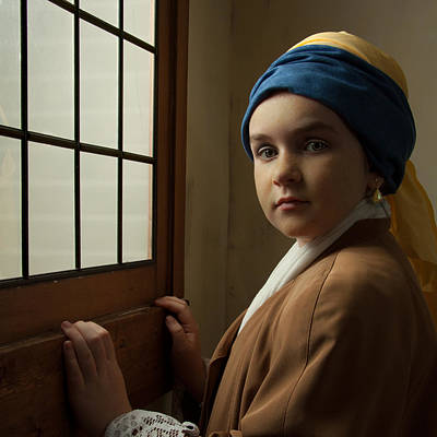 Girl With A Pearl Earring At A Window Poster by Levin Rodriguez