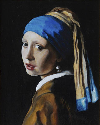 Girl With A Pearl Earring After J. Ver Meer  Poster by Massimo Tizzano