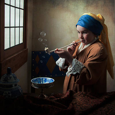Girl With A Pearl Earring Blowing Bubbles Poster by Levin Rodriguez
