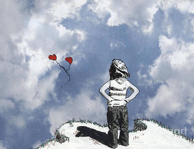 Girl With Balloons 4 Poster