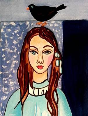 Girl With Blackbird Poster