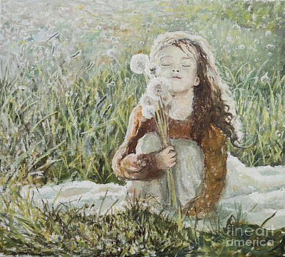 Girl With Dandelions Poster by Eugene Maksim