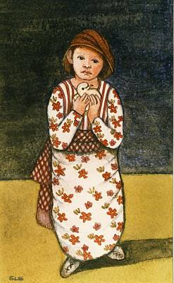 Girl With Dove, 1986 Watercolour On Paper Poster by Gillian Lawson