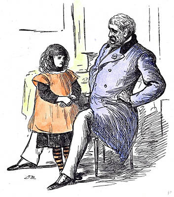 Girl With Grandfather 1873 Grandpapa Paterfamilias At Home Poster by English School