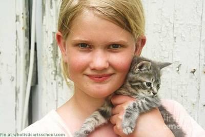 Girl With Kitten Poster