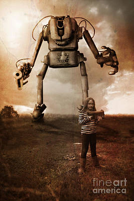 Girl With Robot Poster by Christopher Moonlight