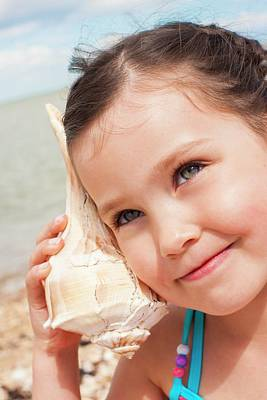 Girl With Seashell Poster