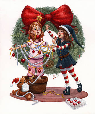 Girls Decorating For Christmas Poster