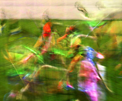 Girls Lacrosse Abstract Poster by Susan Leggett
