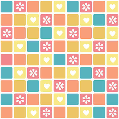 Poster featuring the digital art Girly Heart Square Pattern Retro Daisy Flowers by Tracie Kaska