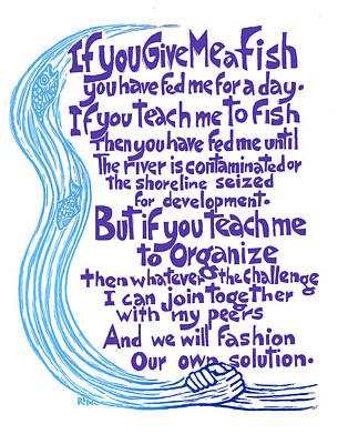Give Me A Fish Poster by Ricardo Levins Morales