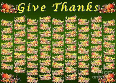 Give Thanks Poster by J McCombie