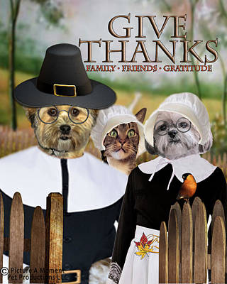 Poster featuring the digital art Give Thanks by Kathy Tarochione