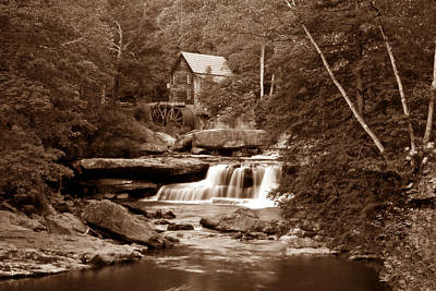 Glade Creek Mill In Sepia Poster by Tom Mc Nemar