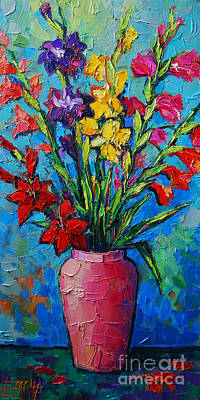 Gladioli In A Vase Poster by Mona Edulesco