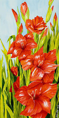 Gladioli Standing Tall Poster by Janis Grau