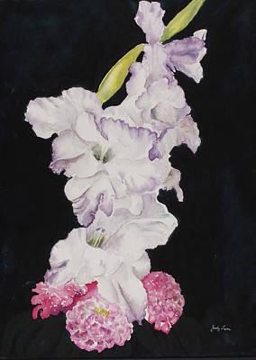 Gladiolus And Zinnias. Poster