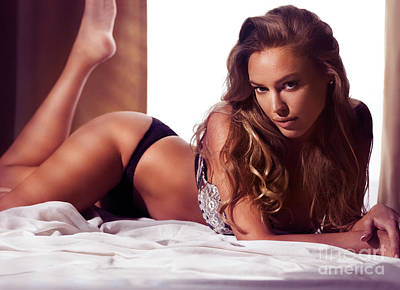 Glamour Portrait Of Sexy Young Woman Lying On Bed Charlie Riina Poster