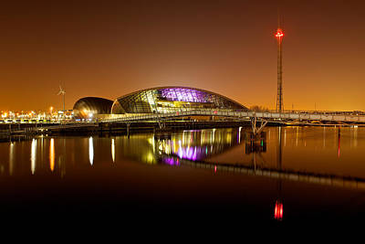 Glasgow Science Centre On A Tofee Coloured Sky Poster