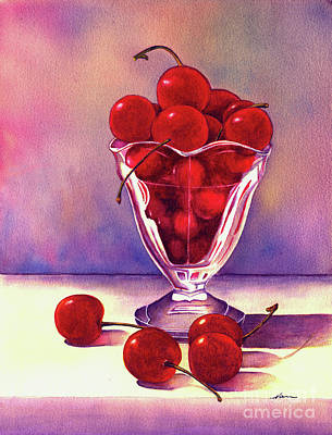 Glass Full Of Cherries Poster by Nan Wright