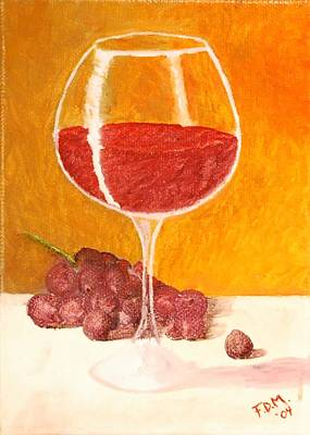 Glass Of Grapes Poster