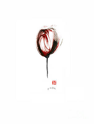 Glass Of Wine Red Purple Black Tulip Flower Burgundy Scarlet Bordeaux Cabernet Watercolors Painting Poster