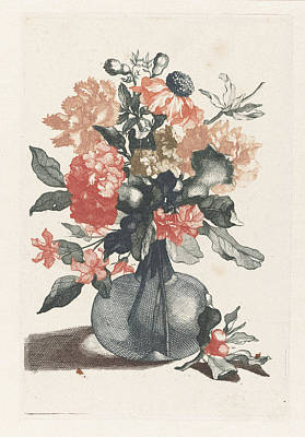 Glass Vase With Flowers And A Branch With Flower Poster by Jean Baptiste Monnoyer And Johan Teyler