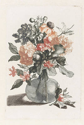 Glass Vase With Flowers And Before The Vase A Branch Poster by Artokoloro