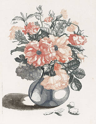 Glass Vase With Flowers, Print Maker Anonymous Poster by Anonymous