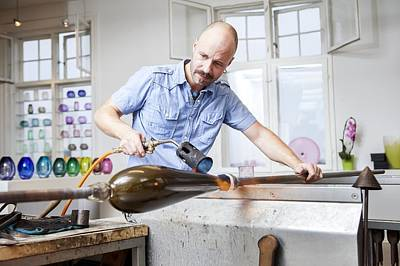 Glassblower At Work Poster by Thomas Fredberg