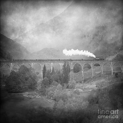 Poster featuring the photograph Glenfinnan Black And White by Roy  McPeak