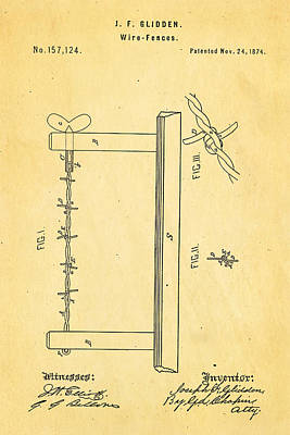 Glidden Barbed Wire Patent Art 1874 Poster by Ian Monk