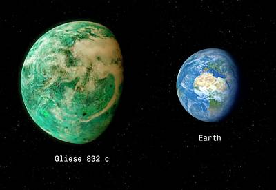 Gliese 832 And Earth Poster
