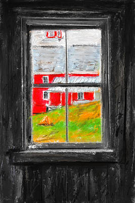 Glimpse Of Country Life- Red Barn Art Poster by Lourry Legarde